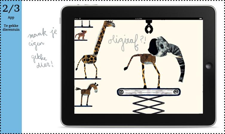 (te) gekke dieren tuin leuke leerzame app kleuter kind dierentuin FLeur van der Weel prentenboek kinderboekenweek Hallo Edward van de Vendel